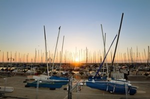 Yachts in the harbor of Tel Aviv at sunset